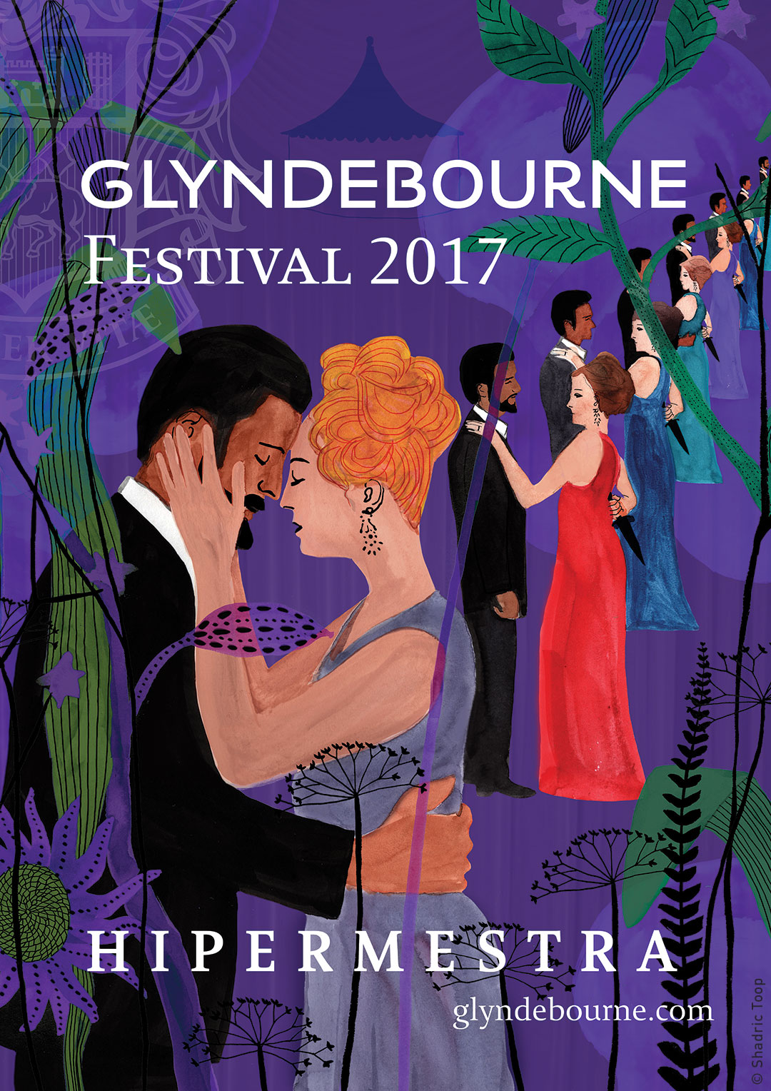 An illustrated poster for Glyndebourne Festival featuring Violetta, featuring characters from the Francesco Cavalli opera Hipermestra, in a abstract design of plants which represent the summer gardens at Glyndebourne - work by Shadric Toop