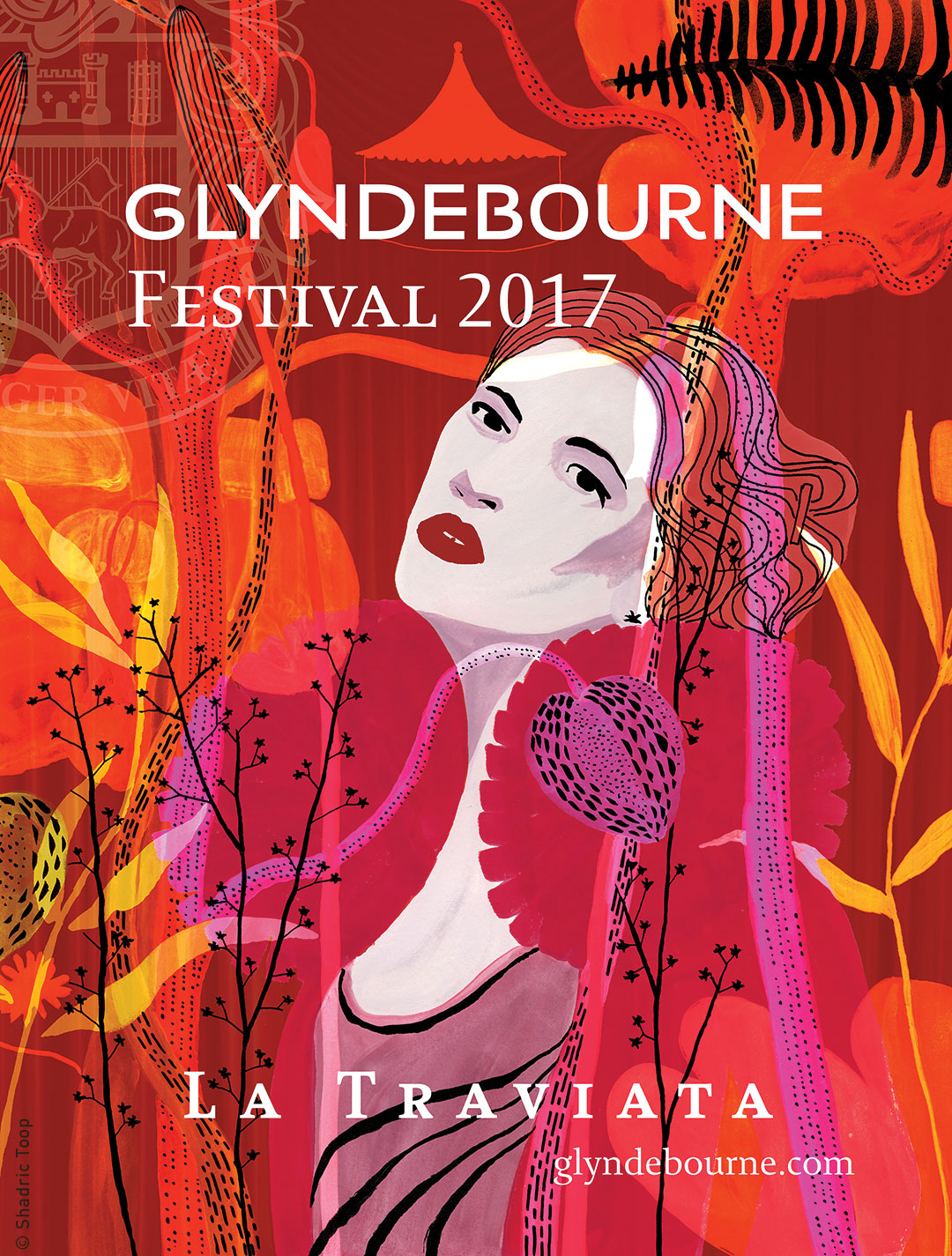 An illustrated poster for Glyndebourne Festival featuring Violetta, the main character in the Verdi opera La Traviata, in a abstract design of plants which represent the summer gardens at Glyndebourne - work by Shadric Toop