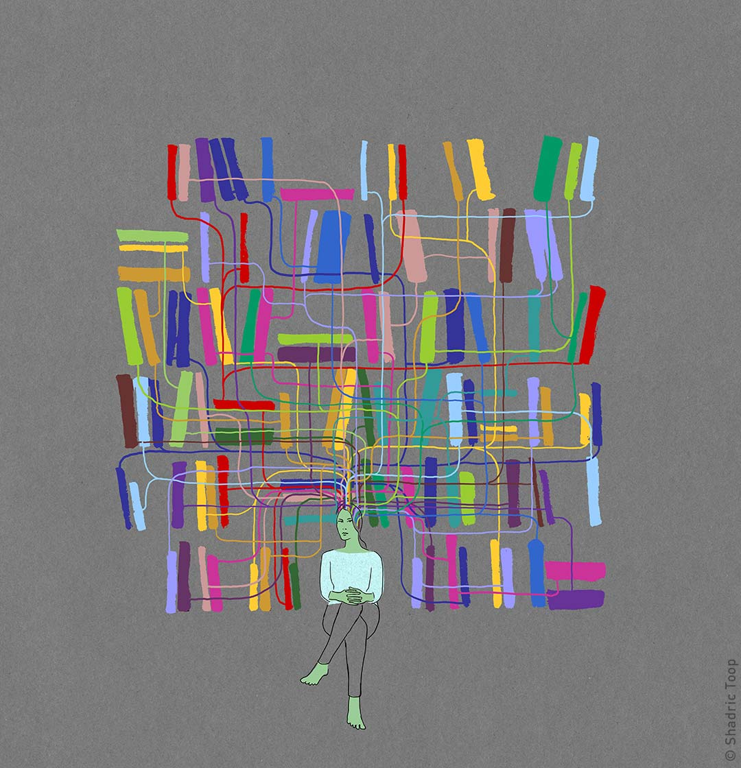 Girl thinking about information or literature, her mind is connected to abstract coloured books on a bookcase - illustration by Shadric Toop